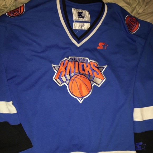 0c3ad73248ad STARTER New York Knicks Hockey Jersey Sz LARGE OG.  M 5c6f7828619745b103d9ab2a